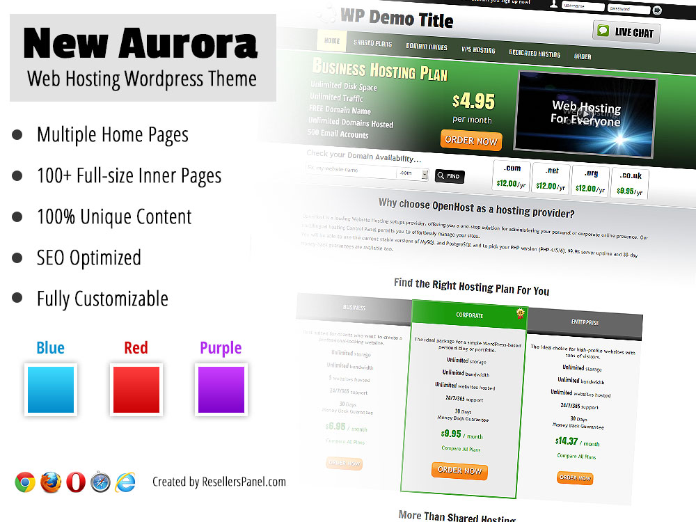 New Aurora Reseller Hosting WordPress Theme || Click for Live Demo