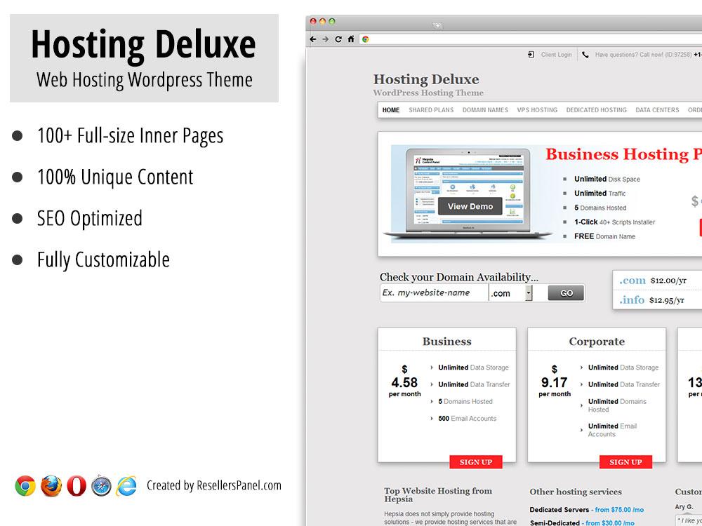 HostingDeluxe WordPress Hosting Theme || Click for Live Demo