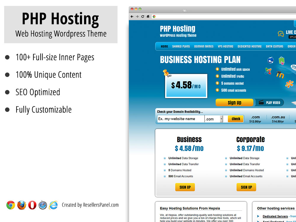 PHP Hosting WordPress theme || Click for Live Demo