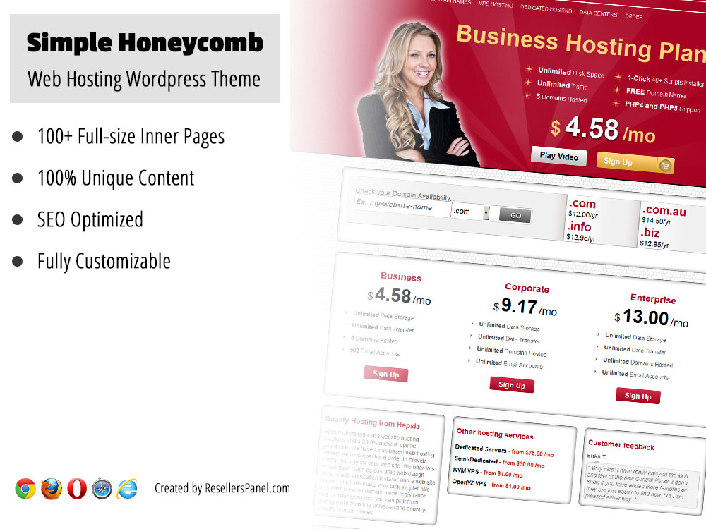 Simple Honeycomb WordPress hosting theme || Click for Live Demo