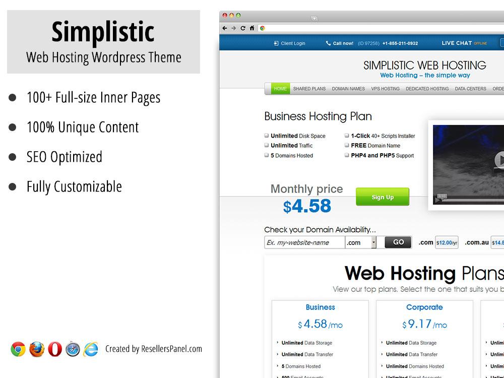 Simplistic WordPress hosting theme || Click for Live Demo