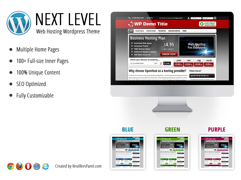 Next Level Reseller Hosting WordPress Theme || Click for Live Demo
