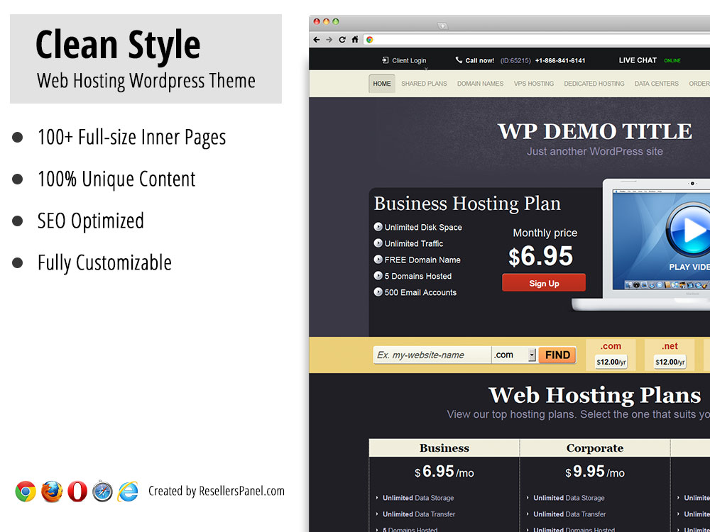 Clean Style WordPress Hosting Theme || Click for Live Demo