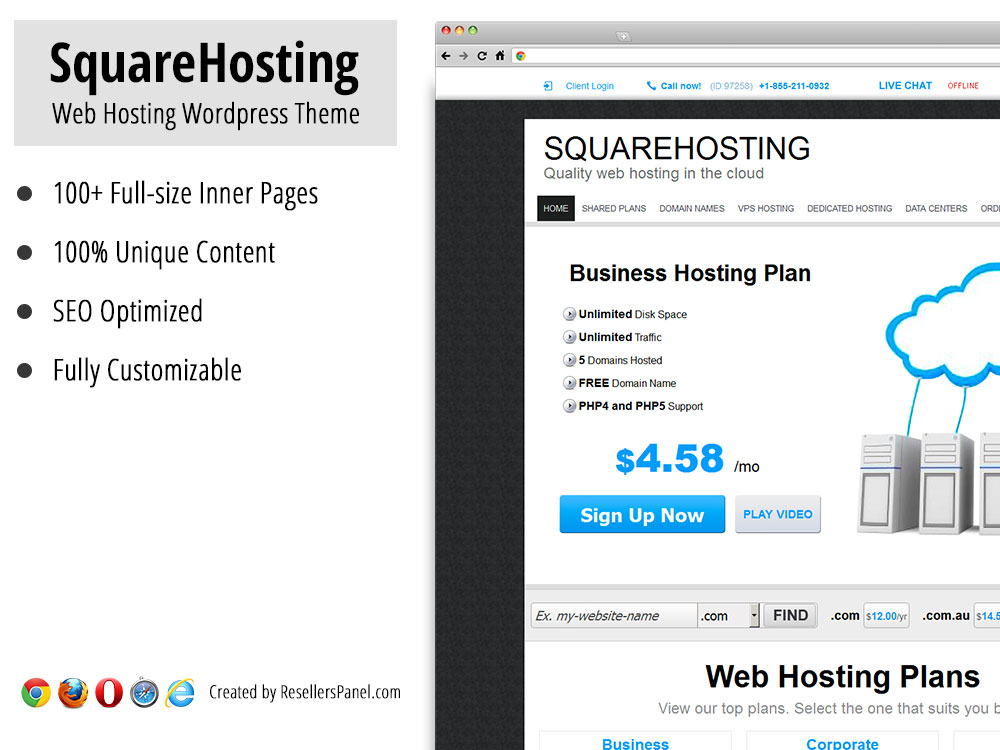 SquareHosting WordPress Hosting Theme || Click for Live Demo