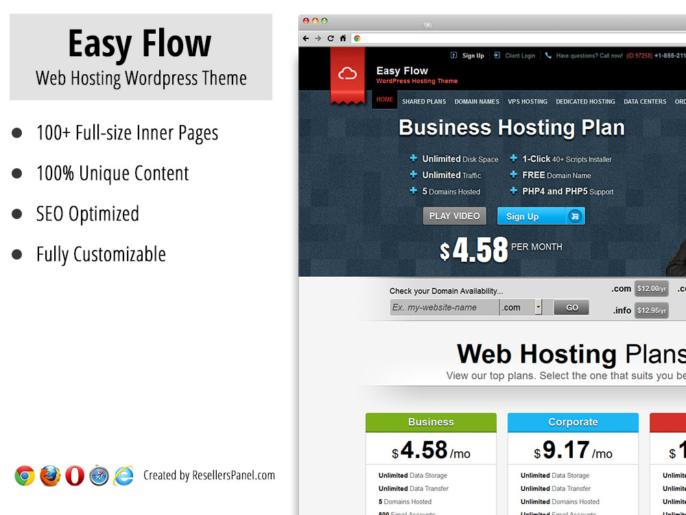 Easy Flow WordPress Hosting Theme || Click for Live Demo