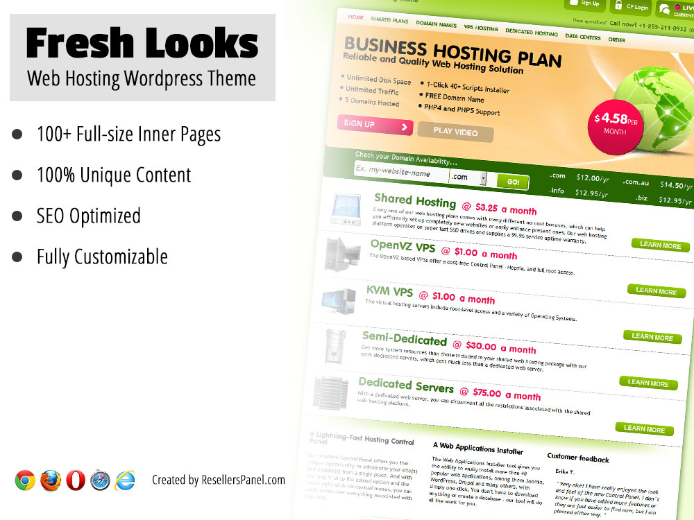 Fresh Looks WordPress Hosting Theme || Click for Live Demo
