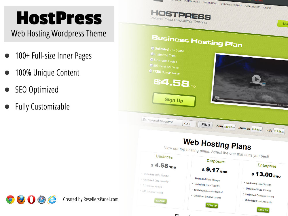 Hostpress WordPress hosting theme || Click for Live Demo