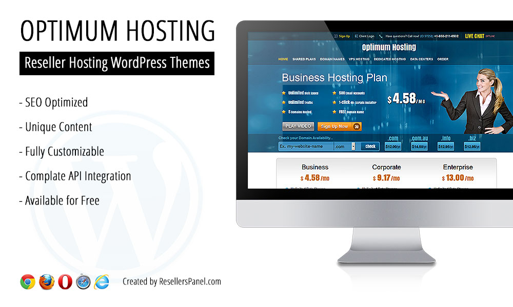 Optimum Hosting WordPress theme || Click for Live Demo