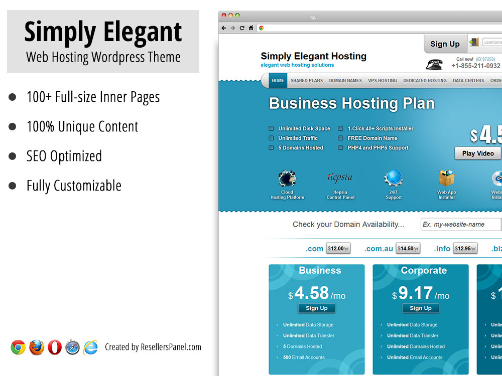 Simply Elegant WordPress hosting theme || Click for Live Demo